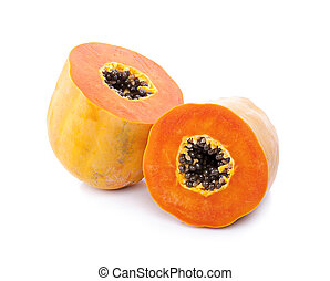 Papaya isolated on white background.