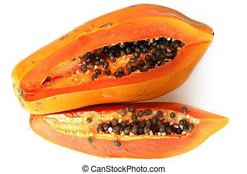 Papaya isolated on white backgrounds
