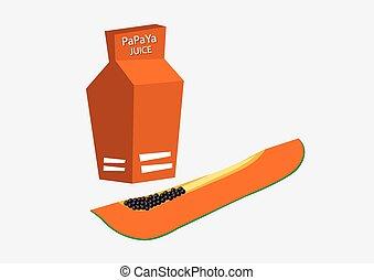Papaya juice in carton box