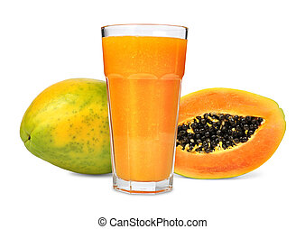 papaya juice - Glass of papaya juice isolated