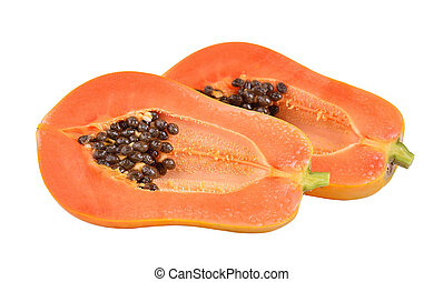 papaya on white background Clipping Path