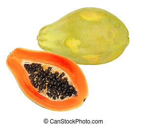 Papaya - One and a half papaya fruits isolated on white