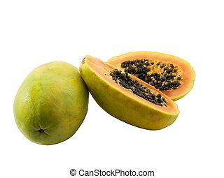 Papaya - Photo of a whole papaya and a sliced open papaya...