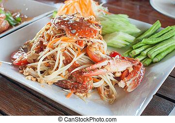 papaya salad with horse crab - thai papaya salad with fresh...