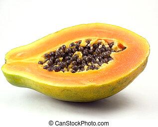 Papaya sliced in half on white