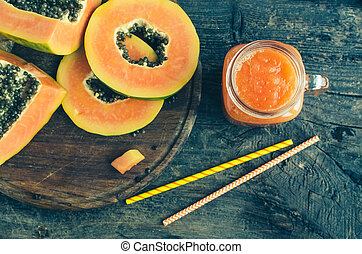 Papaya smoothie in glass jar
