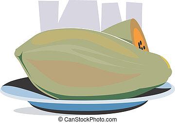 papaya - Illustration of papaya fruit in a plate