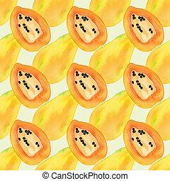 papaye, ou, modèle, papaw., fruits, vrai, seamless, -, aquarelle, drawing., papayas.