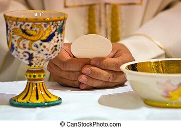 pape, mains, eucharistie, célébré