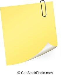 pape, nota, vettore, giallo, appiccicoso