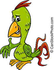 papegøje, fugl, illustration, cartoon