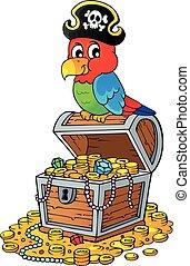 papegaai, schat, topic, borst, 2, zeerover