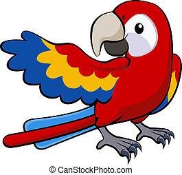 papegoja, illustration, röd