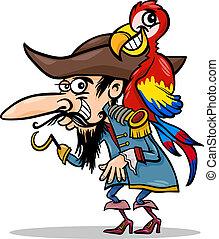 papegoja, sjörövare, illustration, tecknad film