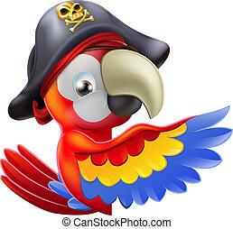 papegoja, sjörövare, pekande