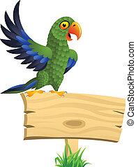 papegoja, tom, grön, skylt