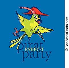 papegoja, vektor, sjörövare, illustration, tecknad film
