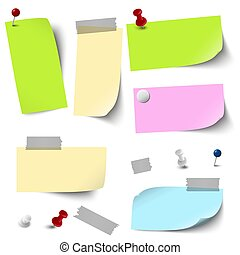 papeis, acessórios, vazio, colorido