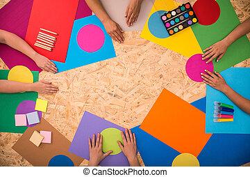 papeis, colorido, chão