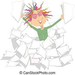papeis, documentos, pilha, ilustração, ou, executiva