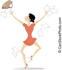 papeis, feliz, lançar, ilustração, executiva, aproximadamente, excitado, algo
