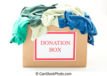 papelão, caixa donation, com, roupas