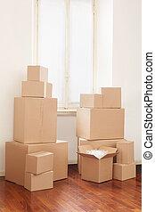 papelão, dia comovente, caixas