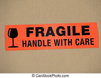 papelão, -, frágil, punho, com, car