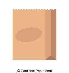 papel, ícone, pacote, isolado, saco