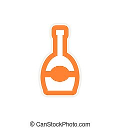 papel, adesivo, branco, fundo, garrafa champanha
