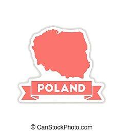 papel, adesivo, branco, fundo, mapa, de, polônia