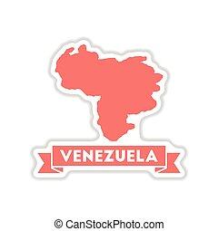 papel, adesivo, branco, fundo, mapa, de, venezuela