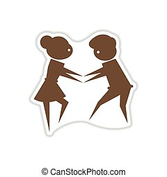 papel, adesivo, branco, fundo, par, de, dançarinos