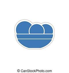 papel, adesivo, branco, fundo, prato, maçãs