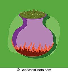 papel, adesivo, ligado, elegante, fundo, poção, cauldron