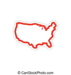 papel, adesivo, mapa, de, eua, branco, fundo