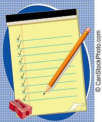papel, amarillo, lápiz, afilador