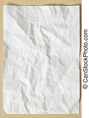 papel amarrotado, folha, branca, textura
