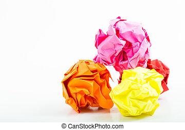papel amarrotado, isolado, a4, branca