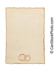papel, anel, envelhecido, casório