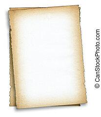 papel, antigas, dois pedaços