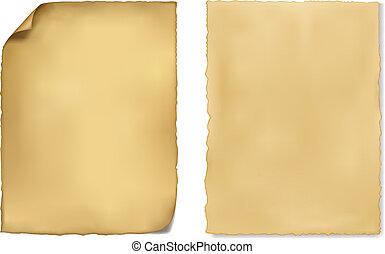 papel, antigas, jogo, vector., sheets.