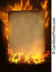 papel, antigas, queimadura