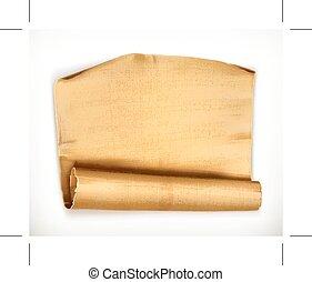 papel, antigas, scroll