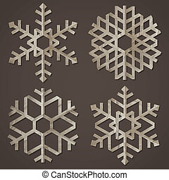 papel, antigas, snowflakes
