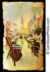 papel, antigas, veneza, vista