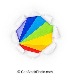 papel, arco íris, rasgado, gama, cores