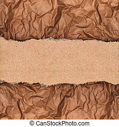 papel, arrugado, pedazo, plano de fondo, kraft