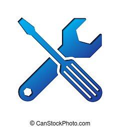 papel, arte, de, el, azul, llave inglesa, y, screwdriver.,...