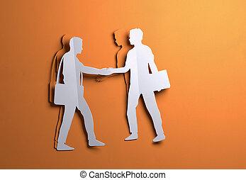 papel, arte, -, hombres de negocios, sacudarir las manos, en, un, trato